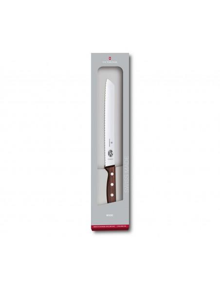 VICTORINOX Leivanuga, 21 cm, lainelise teraga, puitkäepide, kinkekarbis